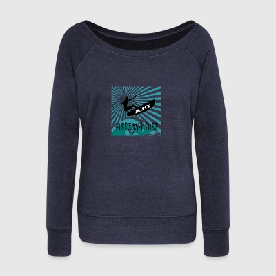 SARDINIA SURF png - Women's Boat Neck Long Sleeve Top