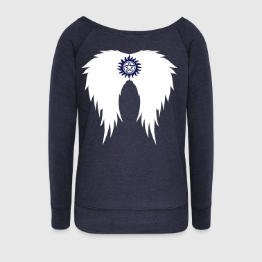 Supernatural wings (vector) T-Shirts - Women's Boat Neck Long Sleeve Top