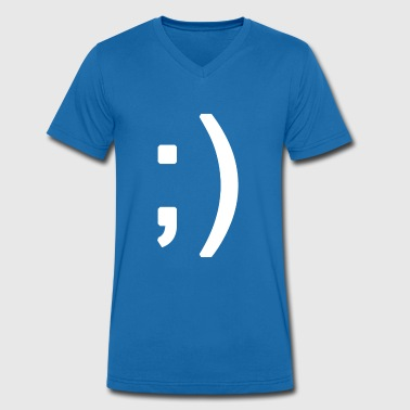 Winking smiley face in text - Mannen bio T-shirt met V-hals van Stanley & Stella