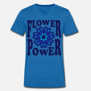 Hippie Flower Power Flower Power  Goa Hippie Flower 70s  Flower  - Men's Organic V-Neck T-Shirt by Stanley & Stella