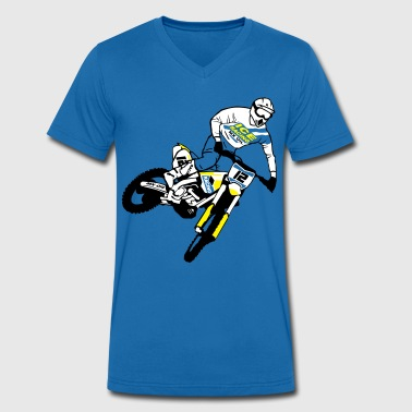 Moto Cross - motocross   - Men's Organic V-Neck T-Shirt by Stanley & Stella