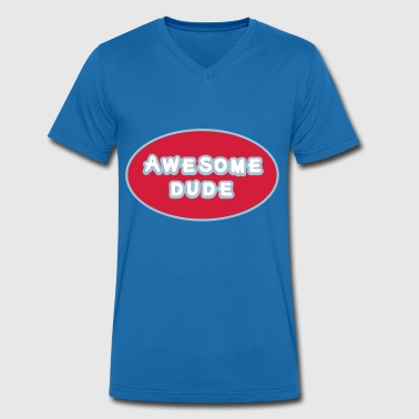 Awesome Dude, Superhero Awesome Dude - Mannen bio T-shirt met V-hals van Stanley & Stella