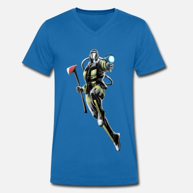 Savior Firefighter superhero - Men's Organic V-Neck T-Shirt by Stanley & Stella