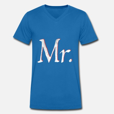 Mr En Mrs Mr. Partnerlook Mr. & Mrs. gift paren - Mannen bio T-shirt met V-hals van Stanley & Stella