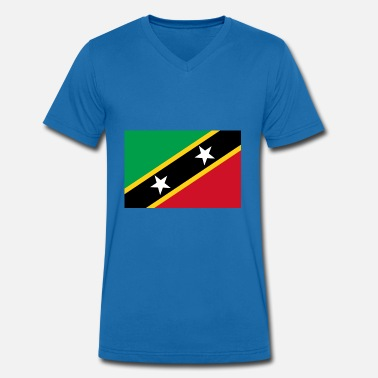 Saint Kitts And Nevis Saint Kitts and Nevis Flag - Men's Organic V-Neck T-Shirt by Stanley & Stella