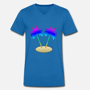 Island Palm Trees Palm trees on island - Men's Organic V-Neck T-Shirt by Stanley & Stella