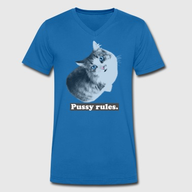 Cat - Pussy rules - Men's Organic V-Neck T-Shirt by Stanley & Stella