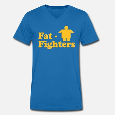 Övervikt Fat Fighters Club - Ekologisk T-shirt med V-ringning herr från Stanley & Stella