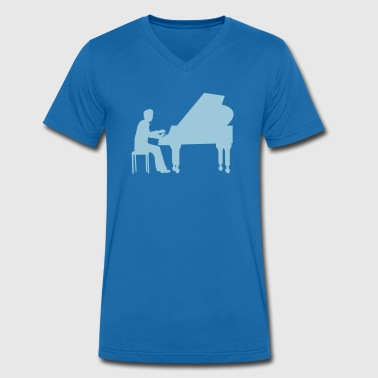 piano player - Men's Organic V-Neck T-Shirt by Stanley & Stella