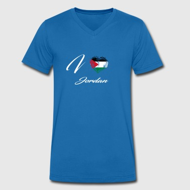Jordan I Love Home Country Flag Roots Jordan - Men's Organic V-Neck T-Shirt by Stanley & Stella