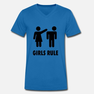 Girls Rule GIRLS RULE! - Men's Organic V-Neck T-Shirt by Stanley & Stella