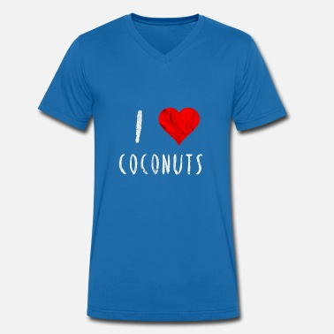 I Love Coconut I love Coconuts Coconut Red Heart Gift idea - Men's Organic V-Neck T-Shirt by Stanley & Stella