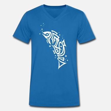 Tribal Underwater Tribal fish with bubbles - Men's Organic V-Neck T-Shirt by Stanley & Stella