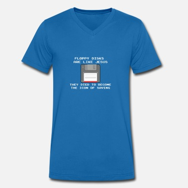 Floppy Disk Nerd and computer professionals - floppy disks like Jesus - Men's Organic V-Neck T-Shirt by Stanley & Stella
