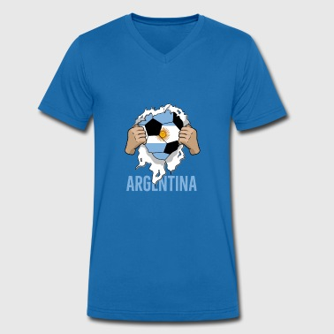 Argentina Football Gift Argentina Fan - Men's Organic V-Neck T-Shirt by Stanley & Stella