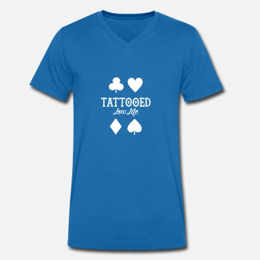 Needle Play Life playing cards tattoo color skin art needle - Men's Organic V-Neck T-Shirt by Stanley & Stella