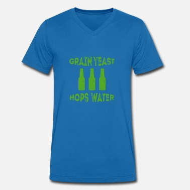 Yeast Beer drink beer cereal yeast hop water - Men's Organic V-Neck T-Shirt by Stanley & Stella