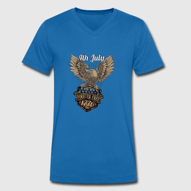 4th of July Shirt Forever Free - Men's Organic V-Neck T-Shirt by Stanley & Stella