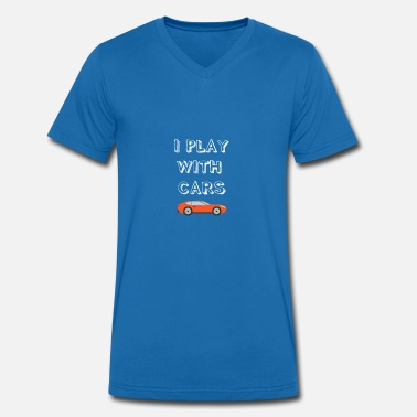 Match Play Funny I Play With Cars Matching Family daddy - Men's Organic V-Neck T-Shirt by Stanley & Stella