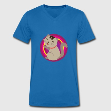 Soft Paw Cat licks her paw - Men's Organic V-Neck T-Shirt by Stanley & Stella