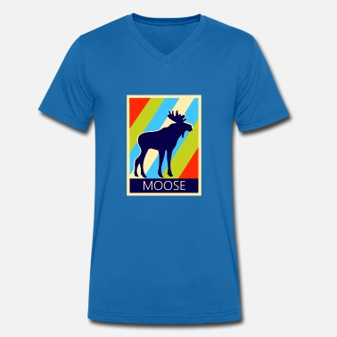 Moose deer retro style - Men's Organic V-Neck T-Shirt by Stanley & Stella