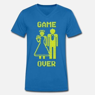Game Over Old Skool geel - Mannen V-hals bio T-shirt