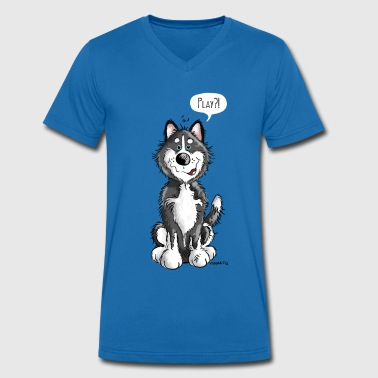 Play Sibirian Husky - Dogs - Dog - Gift - Men's Organic V-Neck T-Shirt by Stanley & Stella