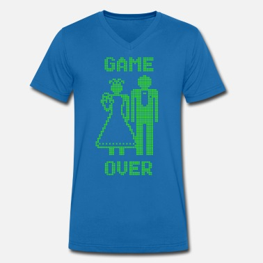 Game Over Old Skool groen - Mannen V-hals bio T-shirt