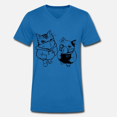 Adult Graffiti Graffiti cats - Men's Organic V-Neck T-Shirt by Stanley & Stella