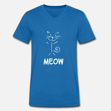 Line Drawing Meow cat drawing line drawing - Men's Organic V-Neck T-Shirt