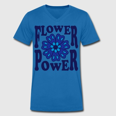 Flower Power  Goa Hippie Flower 70s  Flower  - Men's Organic V-Neck T-Shirt by Stanley & Stella