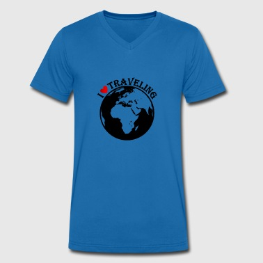 I love traveling - Men's Organic V-Neck T-Shirt by Stanley & Stella