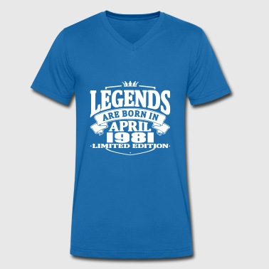 Legends are born in april 1981 - Men's Organic V-Neck T-Shirt by Stanley & Stella
