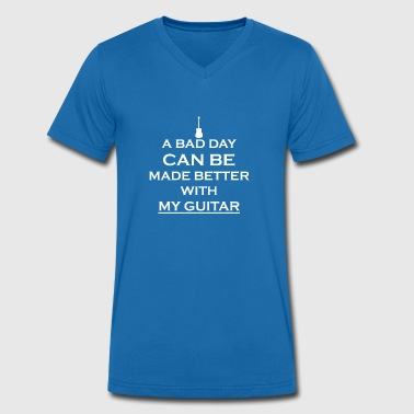 gift bad better day guitar guitar acoustic - Men's Organic V-Neck T-Shirt by Stanley & Stella