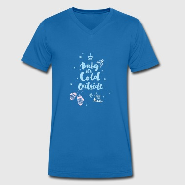 cold baby saying winter ice skate snow - Men's Organic V-Neck T-Shirt by Stanley & Stella