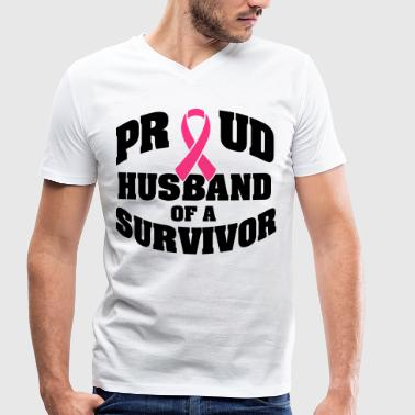 Proud husband of a survivor - Men's Organic V-Neck T-Shirt by Stanley & Stella
