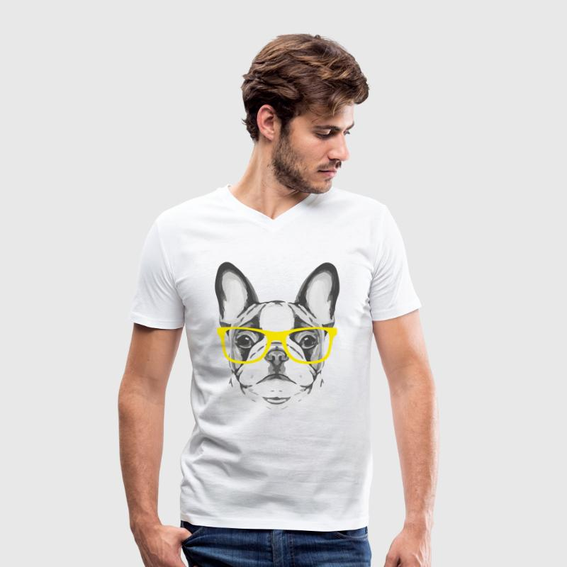 French Bulldog Yellow Glasses - Mannen bio T-shirt met V-hals van Stanley & Stella