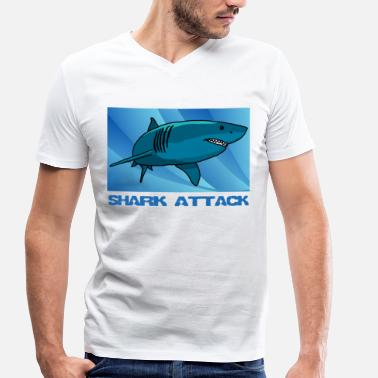 Shark Attack Shark Attack, shark, gift idea - Men's Organic V-Neck T-Shirt by Stanley & Stella