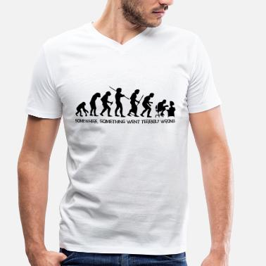 Evolution Of Man Geek The evolution of man - Men's Organic V-Neck T-Shirt by Stanley & Stella
