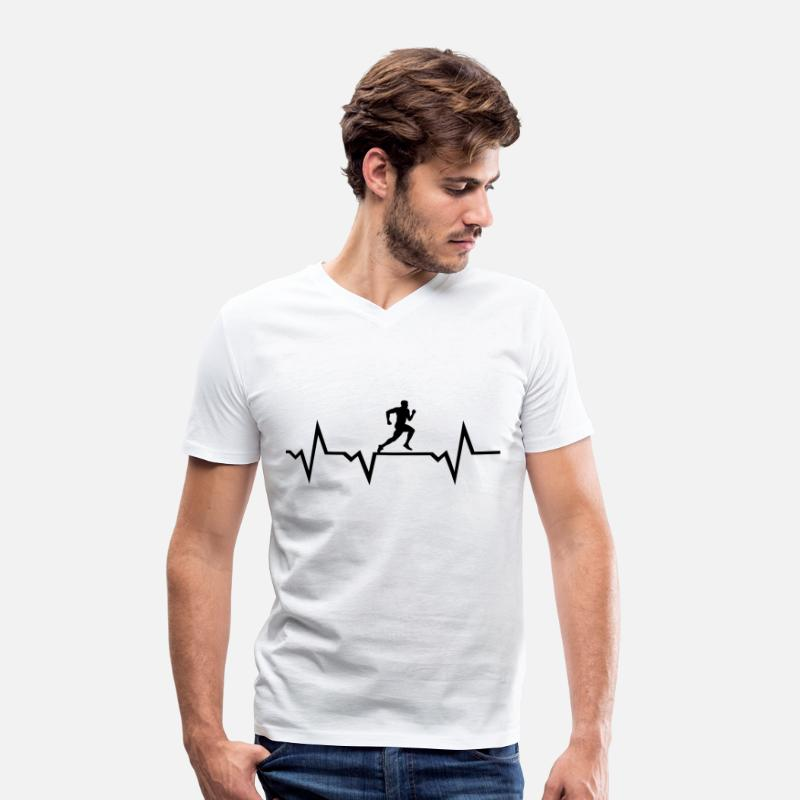 Run T-Shirts - Running Man & Heartbeat - Men's V-Neck T-Shirt white