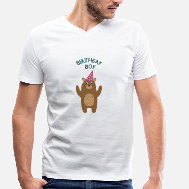Teddy Boy Teddy Bear Birthday Boy - Men's Organic V-Neck T-Shirt by Stanley & Stella