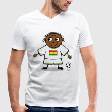Football player - Ghana flag - Men's Organic V-Neck T-Shirt by Stanley & Stella