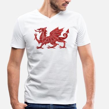Welsh Dragon Welsh Red Dragon - Men's Organic V-Neck T-Shirt by Stanley & Stella
