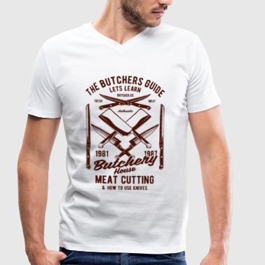 Knife Meat Butcher Design Craft Knife Meat 1981 1987 - Men's Organic V-Neck T-Shirt by Stanley & Stella