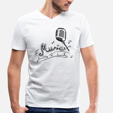 Mikrophone Retro microphone with music notes and clef. - Men's Organic V-Neck T-Shirt by Stanley & Stella