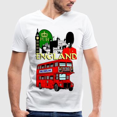 England London Big Ben Beef Eater - Men's Organic V-Neck T-Shirt by Stanley & Stella