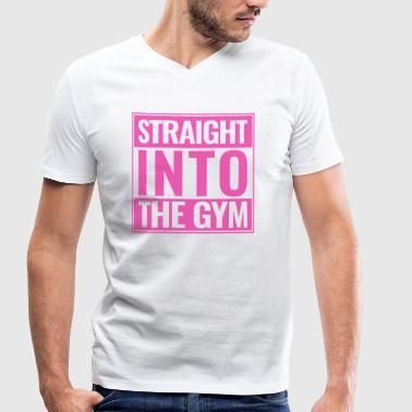Straight Into The Gym logo pink - Men's Organic V-Neck T-Shirt by Stanley & Stella