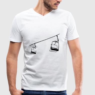 Retro ski lift - chairlift illustration - Men's Organic V-Neck T-Shirt by Stanley & Stella