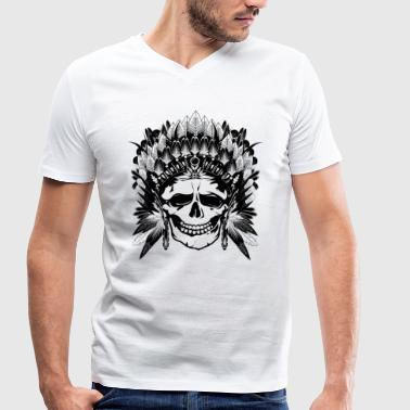 Indian Chief Skull - Men's Organic V-Neck T-Shirt by Stanley & Stella
