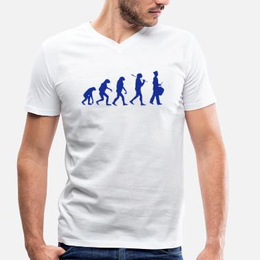 Funny Band Evolution drum funny marching band - Men's Organic V-Neck T-Shirt